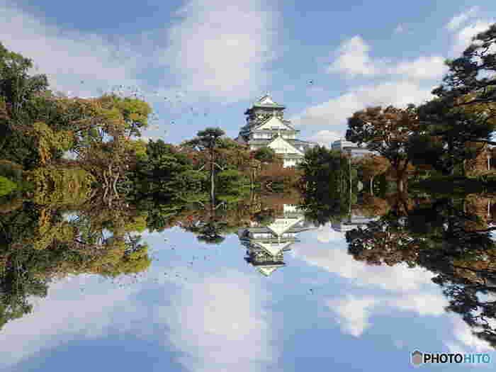 天守閣広場には、少し風変りな眺望スポットがあります。広場にある小さな池からの水面は、天守閣とそれを取り囲む周囲の樹々を鏡のように映し出しており、「逆さ大阪城天守閣」の風景を眺めることができます。