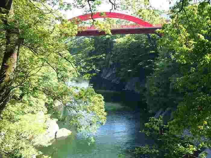 渡良瀬川沿いを走るわたらせ渓谷鐡道の始発駅・終着駅となる桐生。列車からは四季折々の絶景が見渡せ、みどり市の大間々駅で下車すれば高津戸峡も散策できます。
