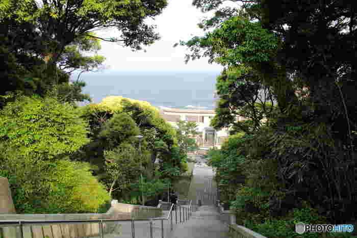 かなり急な長い階段からのこの景色はアニメにも登場したこともあり、多くの方が訪れる人気スポットです。