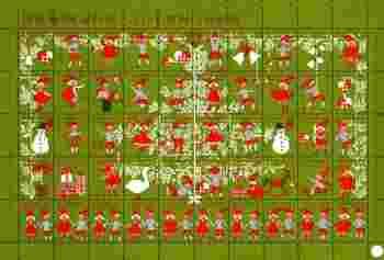 1963年のシールからは、男の子と女の子が陽気にクリスマスを楽しんでいる様子がうかがえます。シールを使ってクリスマスカードのデコレーションが楽しめそうな一枚です。