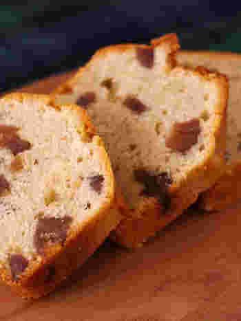 栗をたっぷり使ったダブルマロンパウンドケーキ。濃厚な味わいのマロングラッセ×栗の風味が楽しめるマロンクリーム入りで、栗好きさんにはたまらない一品。可愛くラッピングしてプレゼントにも♪