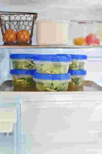 こうして冷蔵庫にサラダをストックしておくことで、子どもたちが配膳を手伝ってくれたり、ご主人がお弁当にと自分で持って行ったり…と自然に家族の手が伸びて「お手伝い」にもつながるそうです。家事の時短に役立ってくれそうですね♪