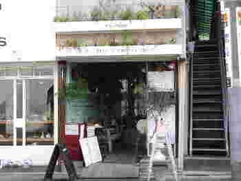 観葉植物がいっぱい並んでいて楽しい雰囲気の、自由が丘にあるプラスガーデンカフェ。