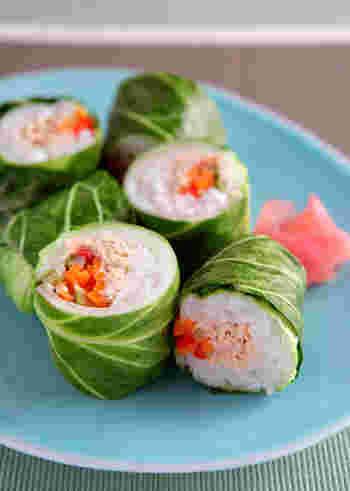 野菜嫌いでもこれならぺろっと食べられちゃうキャベツを海苔がわりに使ったアイデア巻き寿司。ツナマヨと一緒にパプリカや人参も!栄養バランスも考えられた巻き寿司レシピです。