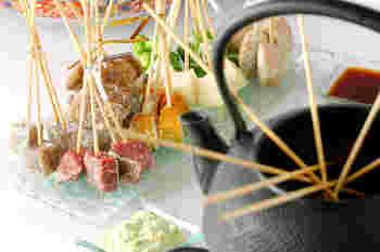 オシャレに美味しく!牛肉やブロッコリーなどもプラスしてフォンデューにしてしまいましょう!食べ方を変えるだけで、パクパクとあっという間に食べきってしまいそう♪