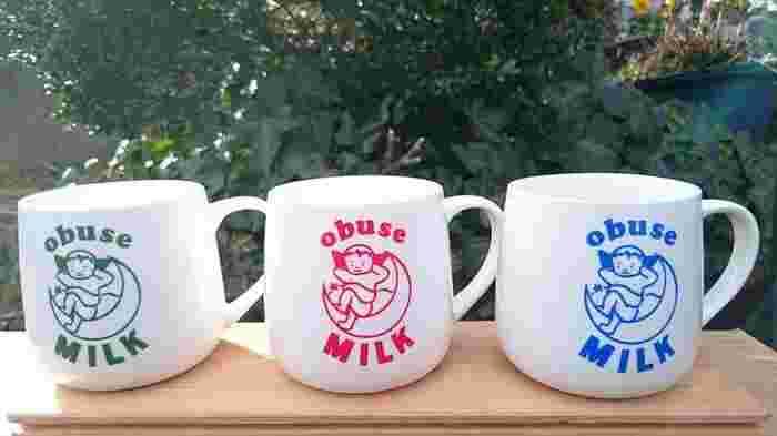 子どもは、みんなの宝もの!!という思いが込められている、可愛らしい「赤ちゃん天使の」ロゴが大きく描かれたマグカップ。オブセ牛乳をあっためたり、カフェオレやラテにしたりして飲む時にぴったりですね。