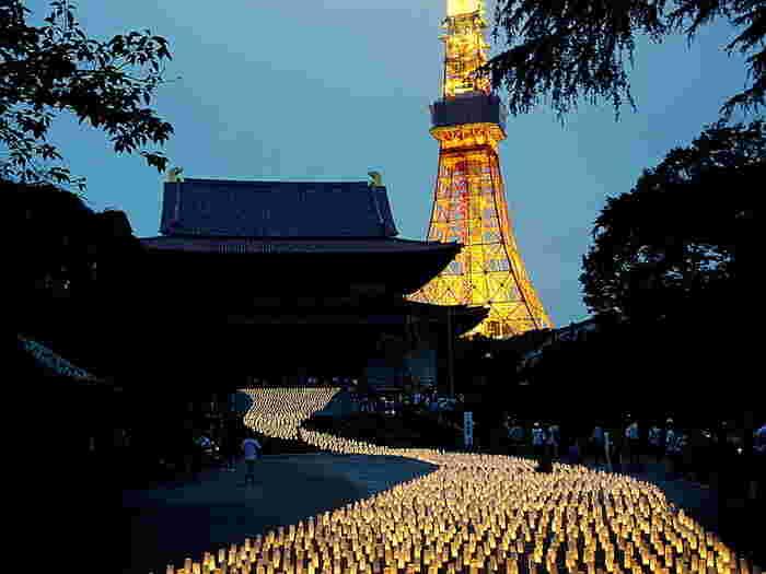 夏の七夕祭りの際には、夜に訪れてみましょう。キャンドルの光がまるで天の川のよう。 ライトアップされた東京タワーも、うっとりするような美しさです。