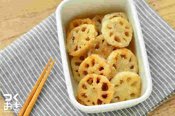 レンコンも唐揚げにはぴったりの野菜。ちょっぴりお弁当がもの足りないなというときの常備菜としても役立ちますよ。