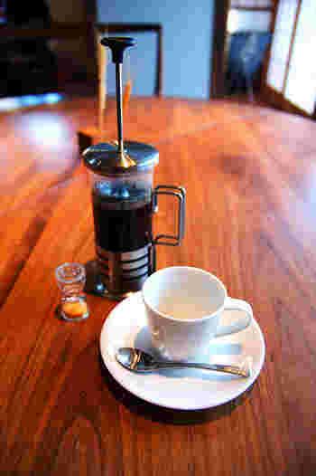 こちらではブレンドコーヒーの他に珍しいフレンチプレスコーヒーをいただくことができます。軽いテイストのコーヒーがお好みの方にはオススメです。