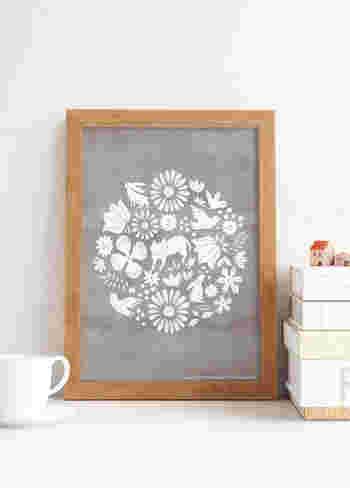 グレー×ホワイトのシックでナチュラルな水彩ポスターは、猫を中心に、動物や花で彩られています。かすれ具合があたたかい雰囲気で、玄関やお部屋に飾ってリラックス空間を演出してみましょう♪