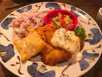 昼のランチだけでなく、夜ランチも。日替わり鶏料理・キッシュ・スープ・サラダ・プレート・ミニデザートが付いたお得な内容です。12~13種の野菜を使ったサラダも日替わりで、ごはんは五穀米。お肉も野菜も食べられ大満足です。