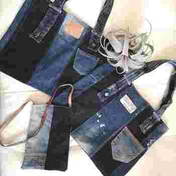 着なくなったジーンズをバッグへとアップサイクルするアイデア。洋服のリメイクとしてやったことがある人もいるかもしれませんね。ジーンズは衣服の中でも強度があり、バッグなど外で使用するアイテムに適していますよ。