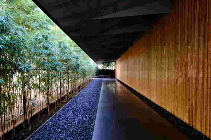 建築家隈研吾によってデザインされた根津美術館。美しい竹の回廊を通って美術館の中に入ります。日常の風景とは切り離された特別な雰囲気が漂いますね。