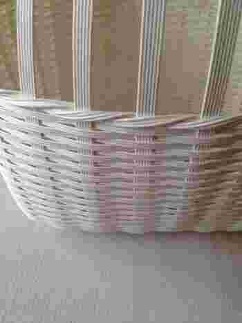 「縁周り+糊しろ」の長さの紙バンドをPPバンドで12本に裂いたものを2セット用意。縦編みの紐に交互にかけていき、一周したら編み終わりをボンドで裏側に貼ります。