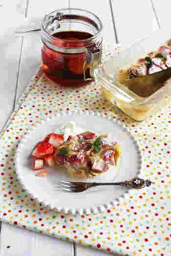 いちごフルーツブランデーのいちごを使った甘いクラフティ。いちごがごろごろたっぷり入った、キュートで美味しいスイーツです。