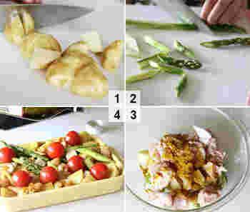 基本的な調理方法の①のステップで、食材を電子レンジでやわらかくしておいたり、塩以外の調味料をふりかけたりとアレンジして工夫できます。