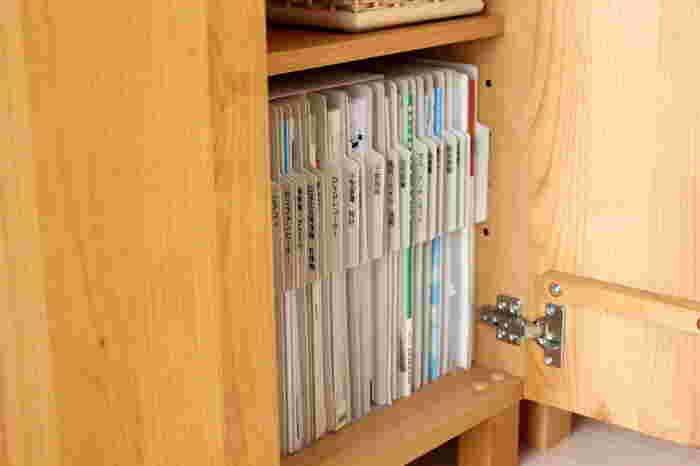 これなら必要な書類もさっと取り出しやすく、新しい書類も見出しに合わせてポイポイ収納するだけ◎!