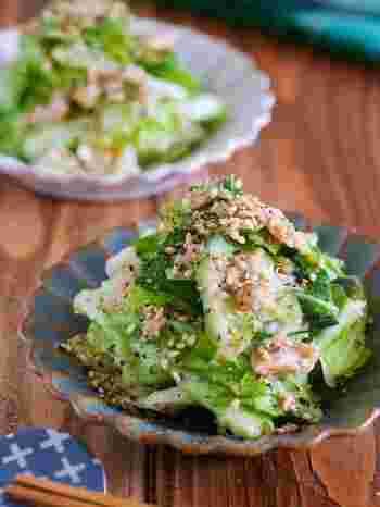 手でちぎったキャベツをビニール袋の中で他の材料と合わせるだけでできてしまう簡単レシピ。黒コショウをたっぷりとふると、お酒にもよく合うおつまみにもなります。きゅうりや白菜などほかのお野菜でも代用できますね。