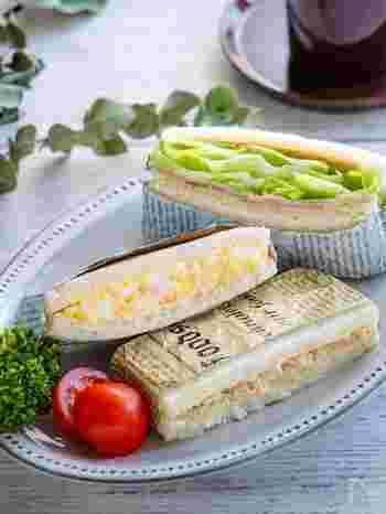 サンドイッチの定番ともいえるたまごサンド、ツナサンド、ハムチーズレタスのレシピです。いつも作っているという人も、卵の崩し方や具材を挟む順番などのちょっとしたコツを知ることでよりおいしいサンドイッチになりますよ。