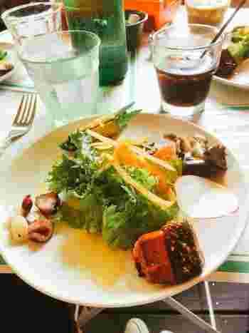 ランチは、サラダとオードブルの盛り合わせ、ピッツァとミニデザートとドリンクのセット。少しずつ盛り付けられたオードブルは上品な味付けです。