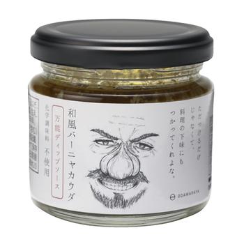 個性的なラベルがインパクト抜群の「和風バーニャカウダ」を作っているのは、福島県で80年以上続く小田原屋漬物店。バーニャカウダに使われることの多いアンチョビの代わりに、しらすと塩麹を使っているのが特徴。和風の味付けが幅広い年代に人気です。
