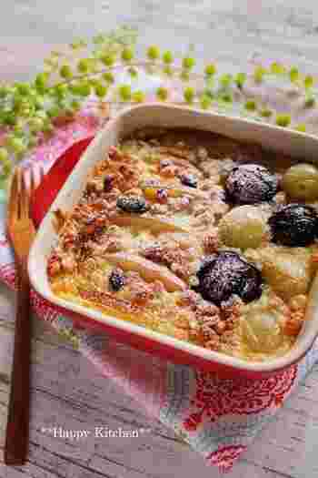 テーブルがぱっと華やぐフルーツグラタン。 あたたかいフルーツが苦手なら、冷やして食べてもおいしいです。