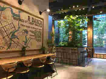 店内は席数が多く、広々としています。シンプルかつスタイリッシュな内装で、おしゃれな観葉植物が心を落ち着かせてくれます。