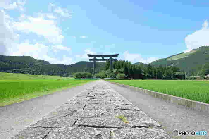 かつて熊野本宮大社が置かれていた場所、大斎原には、高さ33.9メートル、幅42メートルの日本一高い大鳥居が建てられています。