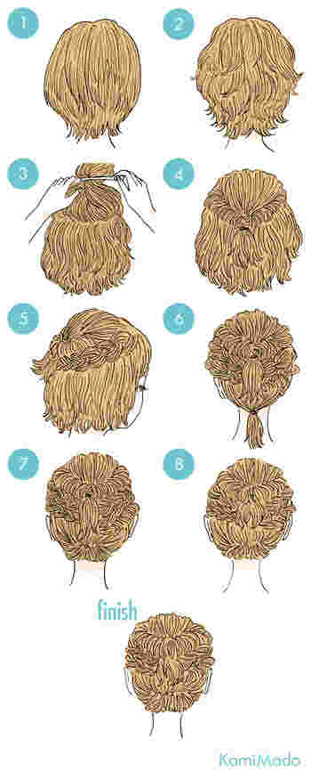 ハチ部分の髪はくるりんぱにし、サイドは大きめの編み込み、下の髪はくるりんぱをするようにして毛先を内側に入れ込んだら完成です。 時間があるときは、軽く巻くとより可愛く仕上がります。