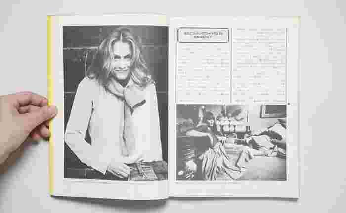 当時のチープ・シックファッションのアイコンでもあり、アメリカ人女優の「ローレン・ハットン(Lauren Hutton)」も誌面に何度も登場しています。全篇モノクロですが、彼女の着こなしも参考になります。