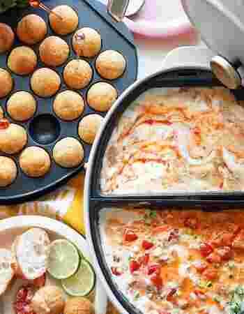 ひよこ豆とじゃがいもをマッシュし、キャンディーチーズをインして丸めたコロコロボール。BRUNOのたこ焼きプレートを使って焼きます。チーズ入りのソースにディップしていただきましょう。