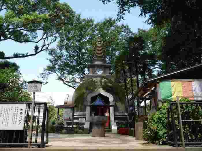 【「上野パコダ」は、上野大仏(大仏の顔)の脇にあるパゴタ(=仏塔)で、かつて大仏殿の跡地に建立されている。この仏塔の中には、本尊として「旧薬師堂」本尊の薬師三尊像が祀られている。薬師如来は、病苦から救い神様であるが、ここで当病平癒の祈願するのなら、絵馬を受付で授かり、パゴダの周囲を御真言を唱えながら歩き、絵馬を奉納する。(詳細は、現地受付にて)】