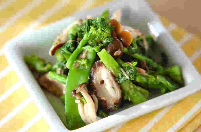 おひたしもだし汁なしで作っちゃいます。菜の花やキノコ類、ツナを加えて酢とお醤油で和えてサラダ風に。