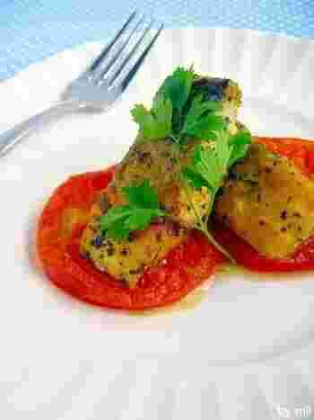 塩さばをイタリアン風にしていただくレシピ。焼きトマトと一緒にいただいて、美肌を目指してみてくださいね。