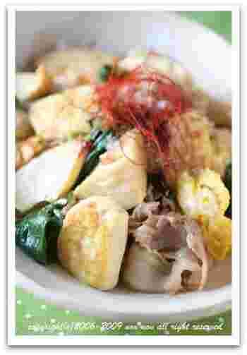 たけのこをメインにした、変わり種レシピ。昆布だしと鰹だしのダブル使いで、深い旨味のチャンプルーになります。ご飯にもよく合いますよ♪