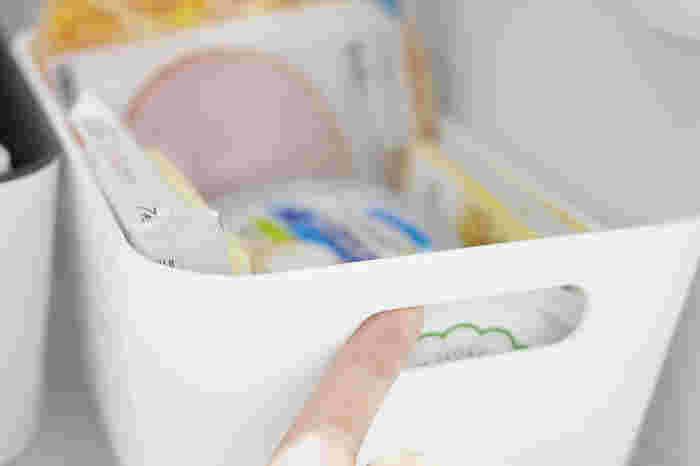 こちらは、あらかじめ朝食に使う食材をセットしているケース。いろいろ取り出すために何度も扉を開閉する必要がなく、これさえ出しておけばすぐに朝食準備に取りかかることができる効率的なアイデアです。