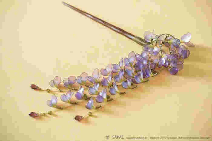 陽に透ける小さな花は楚々とした美しさながら、花房がしゃらりと揺れる様は妖艶な藤。青と紫、白と透明のグラデーションが二つの美しさを見事に表します。 Photo by Ryoukan Abe (www.ryoukan-abe.com)