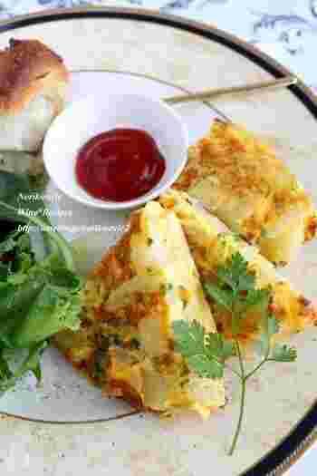 イタリアのオムレツフリッタータは、卵とジャガイモで作る食べ応えのあるボリューミーなオムレツです。朝ごはんやお弁当にもオススメの一品。