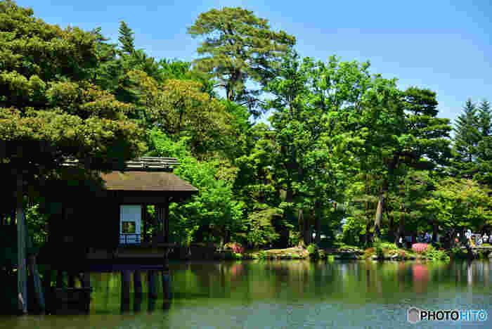 内橋亭は、霞ヶ池の西南岸に位置する水亭です。風情ある小さな庵のような内橋亭は、遠望するとまるで、池の上に浮かんでいるように見えることが特徴です。