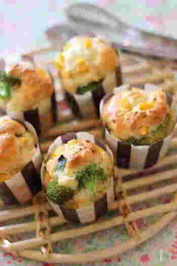 フランスの総菜ケーキを、マフィンカップで可愛く焼き上げます。サラダに添えたり、ワインのお供にどうぞ。