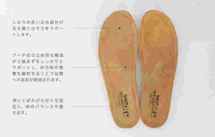 NAOTの靴の一番の特徴である「インソール」には、足裏を快適に保つ様々な工夫が施されています。スエード革とコルクの微粒子という2つの天然素材を使用した柔らかいインソールは、フィット感とクッション性に優れ、履けば履くほど足の形に馴染んでいきます。