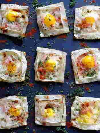 うずらの卵のサクサクのミニガレットです。 簡単なのにおしゃれでかわいく、おもてなしレシピとしてもぴったりです。 おつまみや朝食にもお手軽で良いですね。 余った餃子の皮の消費レシピとしてもおすすめ。