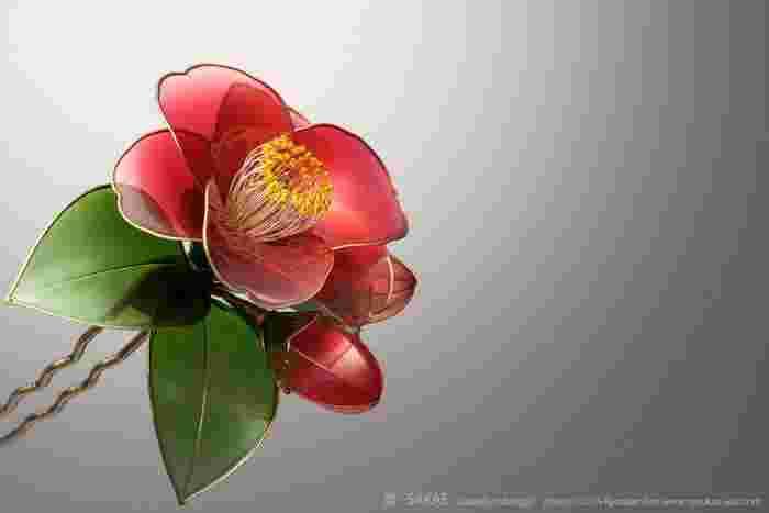 濃い緑と艶やかな赤のコントラストが美しい藪椿は、和の美を象徴する花のひとつと言えるでしょう。花の開き具合、ふくらんだつぼみ、艶やかな葉。完成された美とはこういうことを言うのでしょうか。女性の黒髪を美しくも可憐に、そして凛として飾る姿は、雪に耐えて咲く椿そのものですね。 Photo by Ryoukan Abe (www.ryoukan-abe.com)