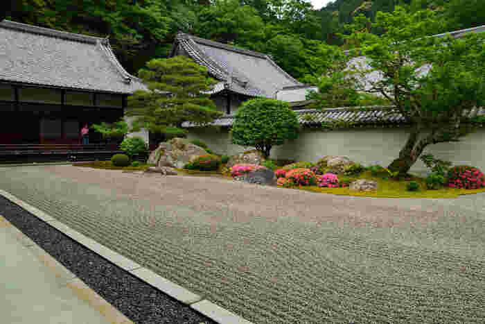 方丈は、禅の悟りの道筋を表現したものです。流れる水のように敷かれた美しい白砂、景石、苔庭に植えられた松やもみじなどの樹木は、まるで水墨画ようです。