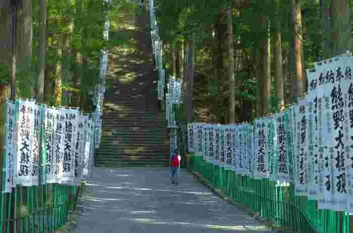 世界遺産の聖域、熊野本宮大社の参道には158段の石段が続いています。風にはためく幾本もの旗、悠久の時間の流れを感じさせる杉の巨木が、熊野本宮大社参道の神聖な雰囲気を引き立てています。