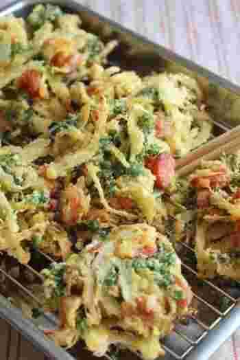 ソーセージとカレー粉を入れたかき揚げなら、パセリが苦手な子供でも美味しく食べられるかも。