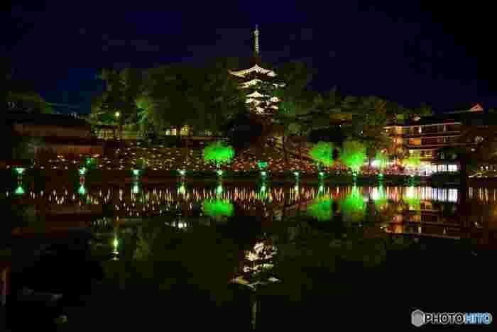 猿沢池の周囲もたくさんのろうそくが取り囲みます。画面奥の灯火が浮かんで見えるのは、猿沢池から興福寺へと続く階段にも明かりが並んでいるためです。それらが池の水面にたくさん反射して、まるで星をばらまいたようですね。