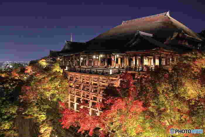 京都は北と南で雪の量が異なるため、清水寺の雪景色を見られるの年にほんの数回なのだとか。ちょうど良いタイミングに訪れることができたら、それだけで嬉しくなってしまいますね。季節によってライトアップされ夜間拝観ができる期間もあるので、ぜひチェックしてみてくださいね。