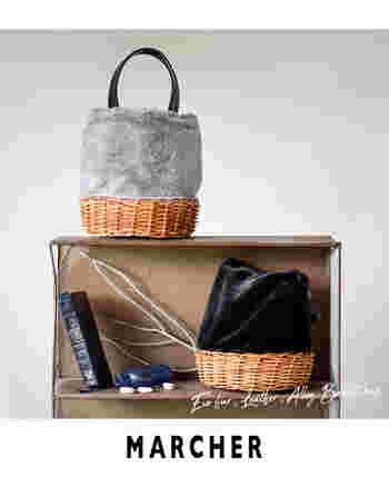 トートバッグ型のかごバッグ。エコファー部分がとても柔らかいので、物がたくさん入ります!