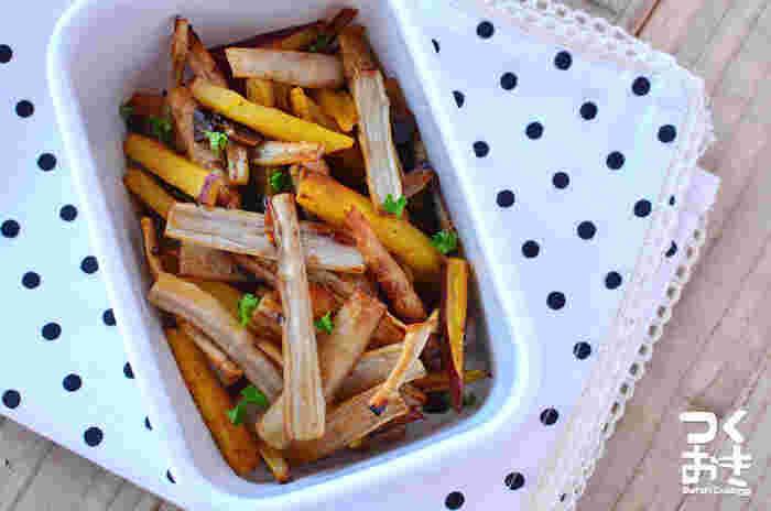 少量の油で揚げ焼きにして、おつまみ感覚で食べられる一品。少量の醤油とにんにくの香りで、野菜のうま味が引き立ちます。